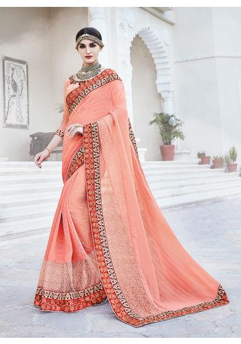 Peach Georgette Heavy Embroidered Designer Wedding Saree