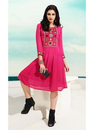 Pink Georgette Designer Fashionale Kurti (Size: XL)