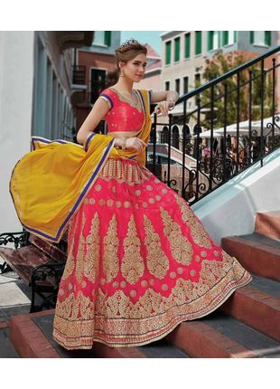 Peach and Yellow Festive Net Embroidered Lehenga with Designer Blouse Piece and Chiffon Dupatta