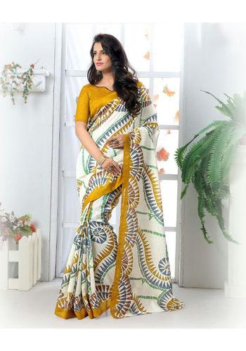 Cream Formal Bhagalpuri Silk Saree with Blouse