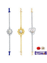 Sri Jagdamba Pearls Set Of 3 Rakhi Combo