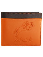 Schmick Tan And Brown Leather Wallet For Men
