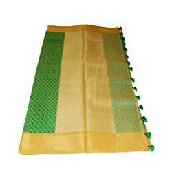 Saree - pure silk cotton, green checked with grand pallu - golden colour