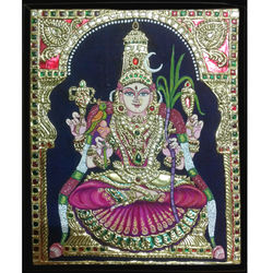 Sri Kamakshi (Tanjore Painting), 6 inches by 8 inches