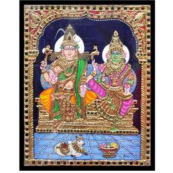 Pradosham ShivaSakthi (Tanjore Painting), 12 inch by 15 inch
