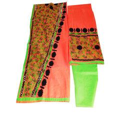 Pink & green Kota silk Chudidar suit