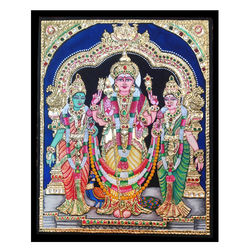 Muruga with valli devasena (Tanjore Painting), 12 inch by 15 inch