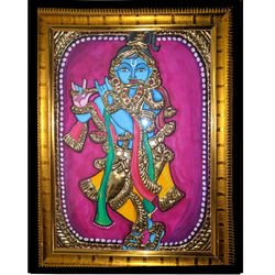 Krishna (Tanjore Painting), 7 inches by 7 inches