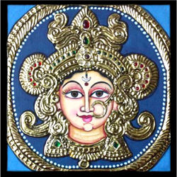 Sri Durga ma (Tanjore Painting), 7 inches by 7 inches