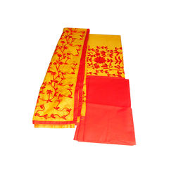 Yellow & Red Aari work kota silk Chudidar suit