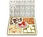 Ghasitaram Diwali Chocolates- Grey Print Almonds, Namkeen, Nutties and Chocolate Box with Mini Pooja Thali