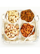 Ghasitaram Set of 4 Rose Cut Bowls with Dryfruits, 600 gms