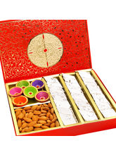 Punjabi Ghasitaram Red Box Kaju Katli, Almonds and Diyas Box