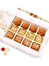 Punjabi Ghasitaram North Indian Mix In White Box With Oval Rudraksh Rakhi