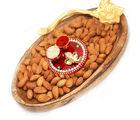 Ghasitaram Diwali Hampers- Wooden Almond Platter With Mini Pooja Thali