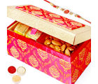 Punjabi Ghasitaram Rakhi Hampers Pink Double Chocolate And Almonds Box With Om Swastik Rakhi