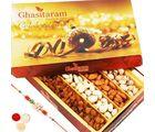 Punjabi Ghasitaram Special Dryfruit Box With Om Rakhi