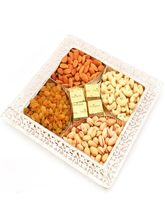 Punjabi Ghasitaram Diwali Hampers Silver 5 Partition Dryfruit Chocolate Tray