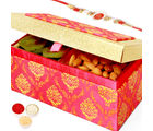 Punjabi Ghasitaram Pink Double Kiwi And Almond Box With Om Swastik Rakhi