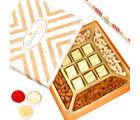 Ghasitaram Special Dryfruits and 9 pcs Chocolates Box with Red Pearl Rakhi