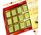 Punjabi Ghasitaram Green Mango Bite 18 Pcs With Oval Rudraksh Rakhi