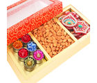 Ghasitaram Orange Hamper Box with T - lites, Almonds and Rangoli, 500 gms