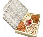 Ghasitaram Diwali Hampers- Grey Print Dryfruit Box With Mini Pooja Thali