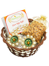 Punjabi Ghasitaram Brown Round Cane Basket with Kaju Katli, Almonds and 2 T Lites