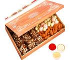 Ghasitaram Wooden 12 Pcs English Brittle Chocolates, Chocolate Coated Fruit and Almonds Box with Red Pearl Rakhi