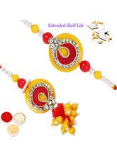 Punjabi Ghasitaram Red And Yellow Bhaiya Bhabhi Rakhi, only rakhi