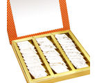 Punjabi Ghasitaram Diwali Gifts Sweets Pure Kaju Katlis In Orange Box