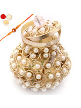 Punjabi Ghasitaram Rakhi Hampers Golden Pearl Chocolate Basket With Pearl Rakhi