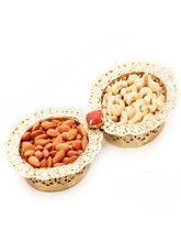 Ghasitaram 2 Bowl Golden Dryfruit Tray, 400 gms
