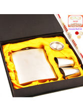 Ghasitaram Hip Flask With Red Pearl Rakhi With 400...
