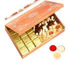 Ghasitaram Wooden 12 Pcs Chocolate, Nutties and Namkeen Box with Red Pearl Rakhi