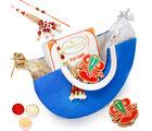 Punjabi Ghasitaram Blue Moon Basket Rakhi Hampers