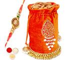 Punjabi Ghasitaram Big Orange Almond Potli With Om Rakhi