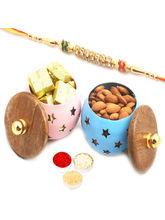 Ghasitaram Set Of 2 Chocolate And Almonds Metal Ja...