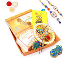 Punjabi Ghasitaram Orange Basket Rakhi Hampers