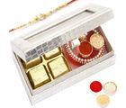 Ghasitaram Silver 4 Pcs Chocolate and Mini pooja Thali Box with Pearl Rakhi