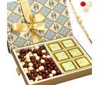 Ghasitaram Grey 6 pcs Chocolate and Nutties Box with Pearl Rakhi