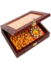 Punjabi Ghasitaram Lazer Orange Wooden Jewellery Almond and 2 T lites Box