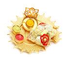 Ghasitaram Golden Shell Platter with Ganesha T-Lite and Chocolates Pouch