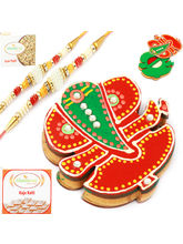 Punjabi Ghasitaram Wooden Ganesha Roli Chawal Container With 2 Pearl Rakhis, only rakhi