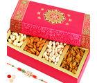 Punjabi Ghasitaram Long Pink Dryfruit Box With Pearl Rakhi