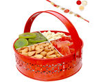 Punjabi Ghasitaram Rakhi Hampers Big Red Metal Mixed Dryfruit Basket With Om Swastik Rakhi