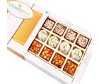 Punjabi Ghasitaram Diwali Gifts Sweets Assorted Dryfruit Sweets In White Box