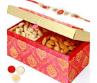 Punjabi Ghasitaram Pink Double Cashew Almond Box With Om Swastik Rakhi