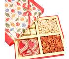 Ghasitaram Mothers Day Red Square Dryfruits, Chocolates And Rangoli Hamper Box