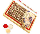 Ghasitaram Red and Gold 8 Pcs English Brittle Chocolate and Chocolate Coated Fruit Tray with Red Pearl Rakhi